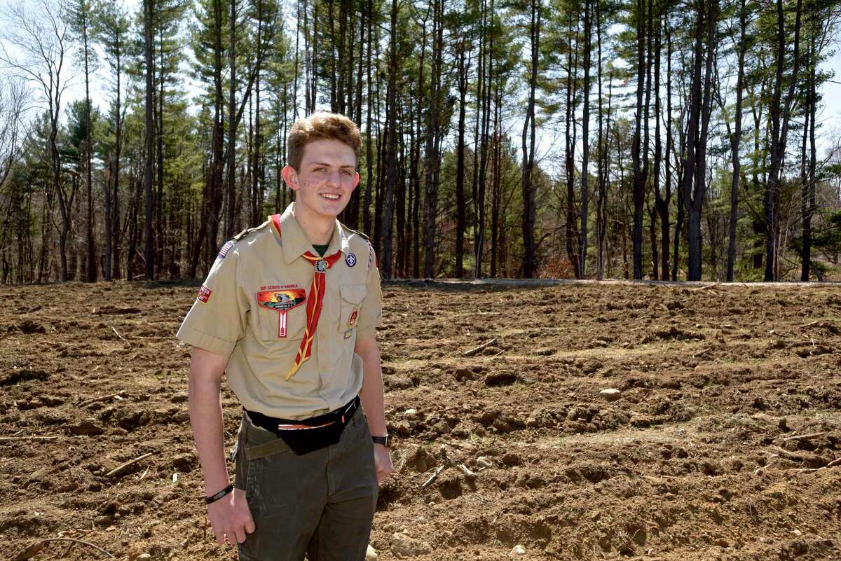 Nathanial Varda, of Brookfield, is completing his Eagle Scout Project by fully restoring four acres of meadow and building birdhouses for Eastern Bluebirds in the Catherine Violet Hubbard Animal Sanctuary in Newtown, Conn. Monday, April 4, 2021.