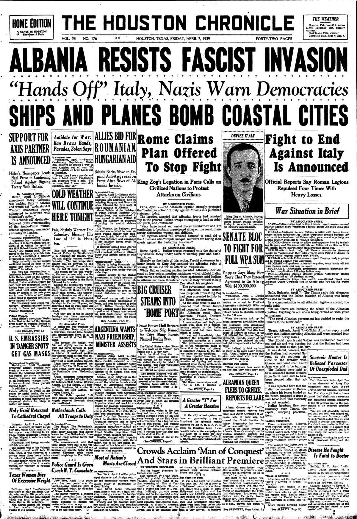 Houston Chronicle front page from April 7, 1939.