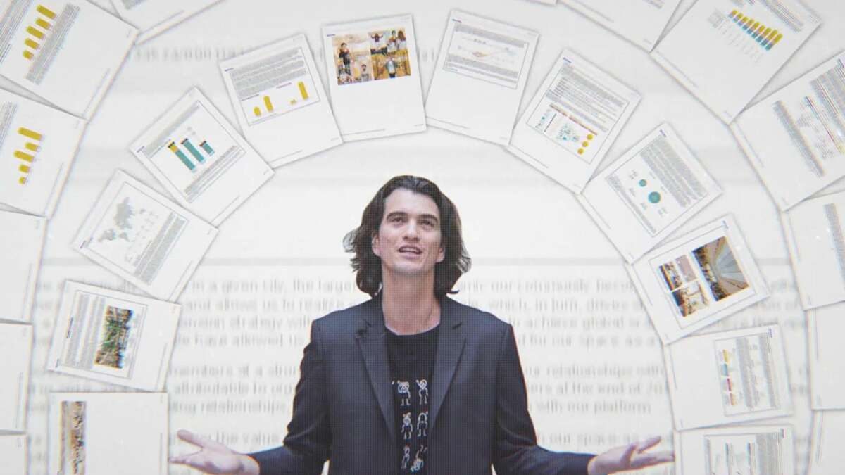 """WeWork co-founder and former CEO Adam Neumann in a still from """"WeWork: Or the Making and Breaking of a $47 Billion Unicorn."""""""