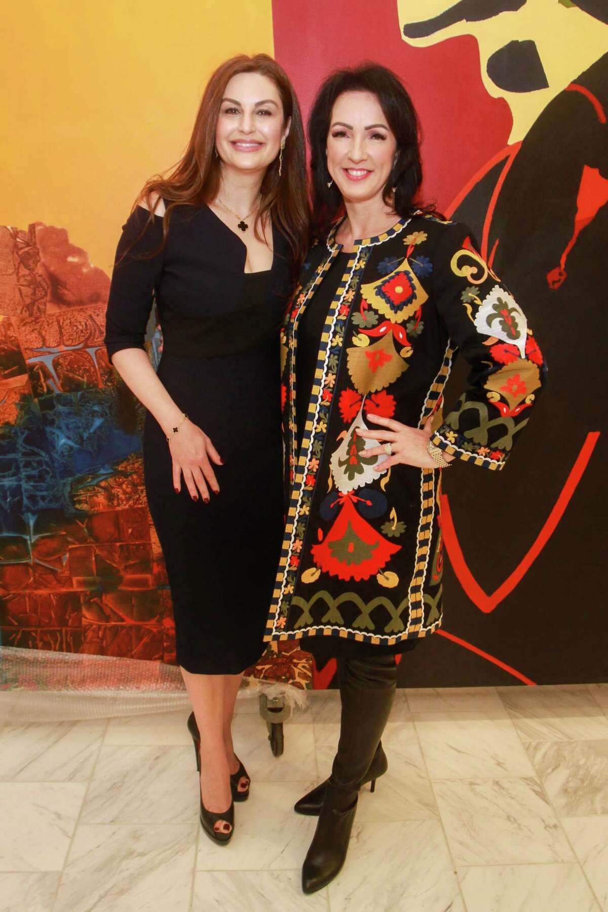 Chairs Brigitte Kalai, left, and Alicia Smith at the Houston Chronicle Best Dressed Hall of Fame luncheon at Neiman Marcus on Jan. 28, 2020, the last Best Dressed event before the March shut-down.