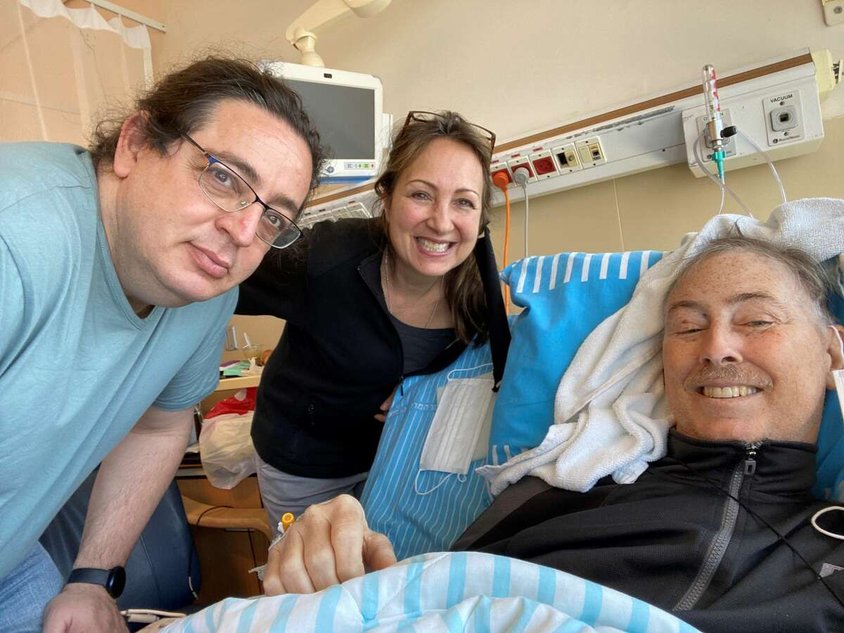 Brian McGarry (right) with his wife, Patty, and an orthopedic doctor in Israel. McGarry, a Schenectady County legislator from Rotterdam, is in Israel to receive a specialized prostate cancer regimen not available in the U.S.