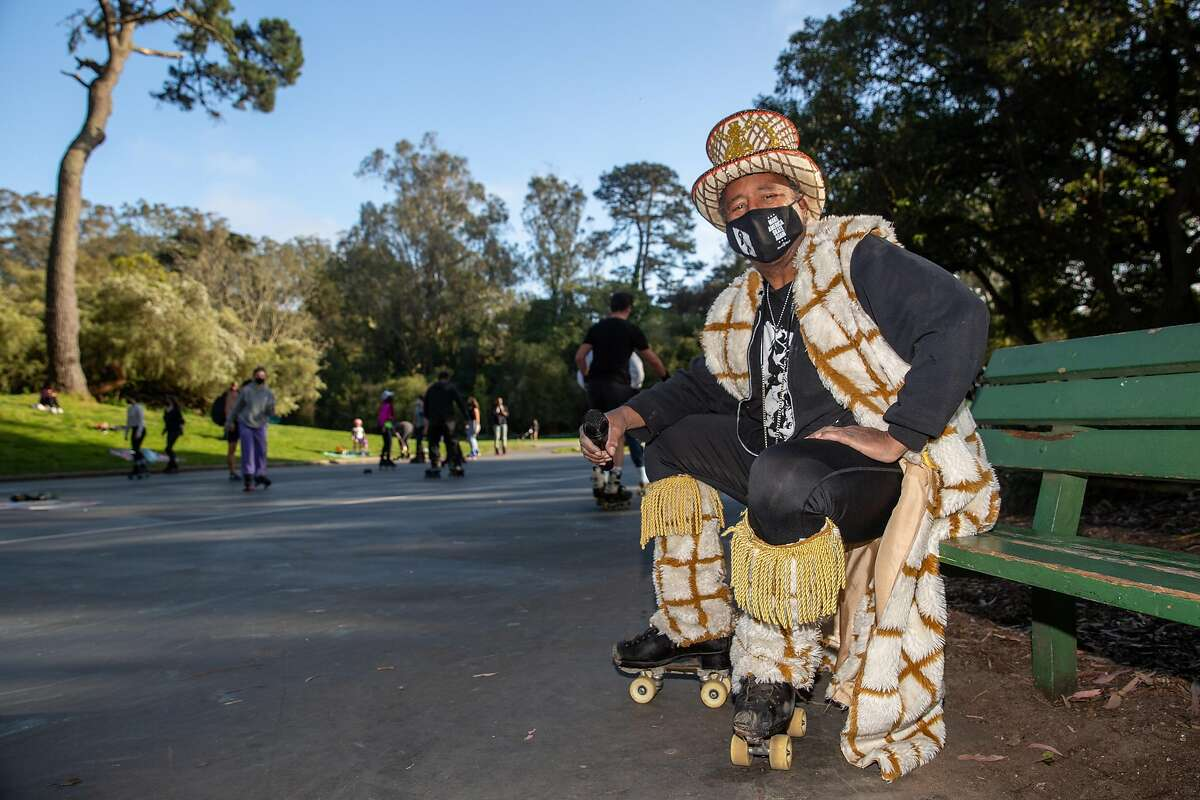 David Miles runs the Skatin' Place. Roller skaters from across the Bay Area meet up at Skatin' Place in Golden Gate Park for a Friday night roller disco hosted by David Miles Jr., the Godfather of Skate, on April 2, 2021.