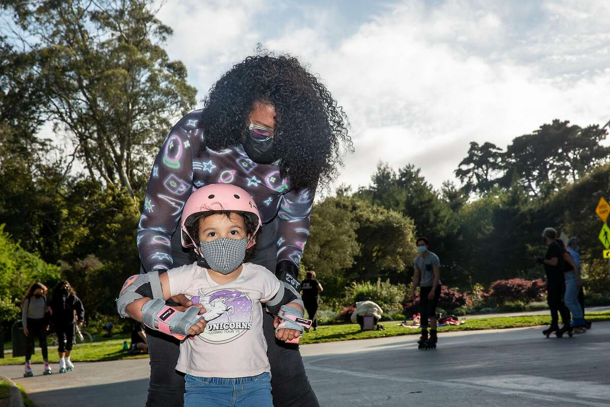 Corrynn DeFrancesco and Briscoe (daughter) join roller skaters from across the Bay Area meet up at Skatin' Place in Golden Gate Park for a Friday night roller disco hosted by David Miles Jr., the Godfather of Skate.