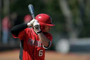 Fairfield's Justin Guerrera at bat against Canisius during an NCAA baseball game on Sunday, March 21, 2021, in Fairfield, Conn. (AP Photo/Adam Hunger)