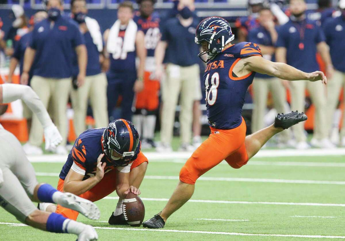 UTSA kicker Hunter Duplessis (48) kicks a successful field goal attempt against Middle Tennessee during their game at the Alamodome on Friday, Sept. 25, 2020. UTSA wins, 37-35, over Middle Tennessee.
