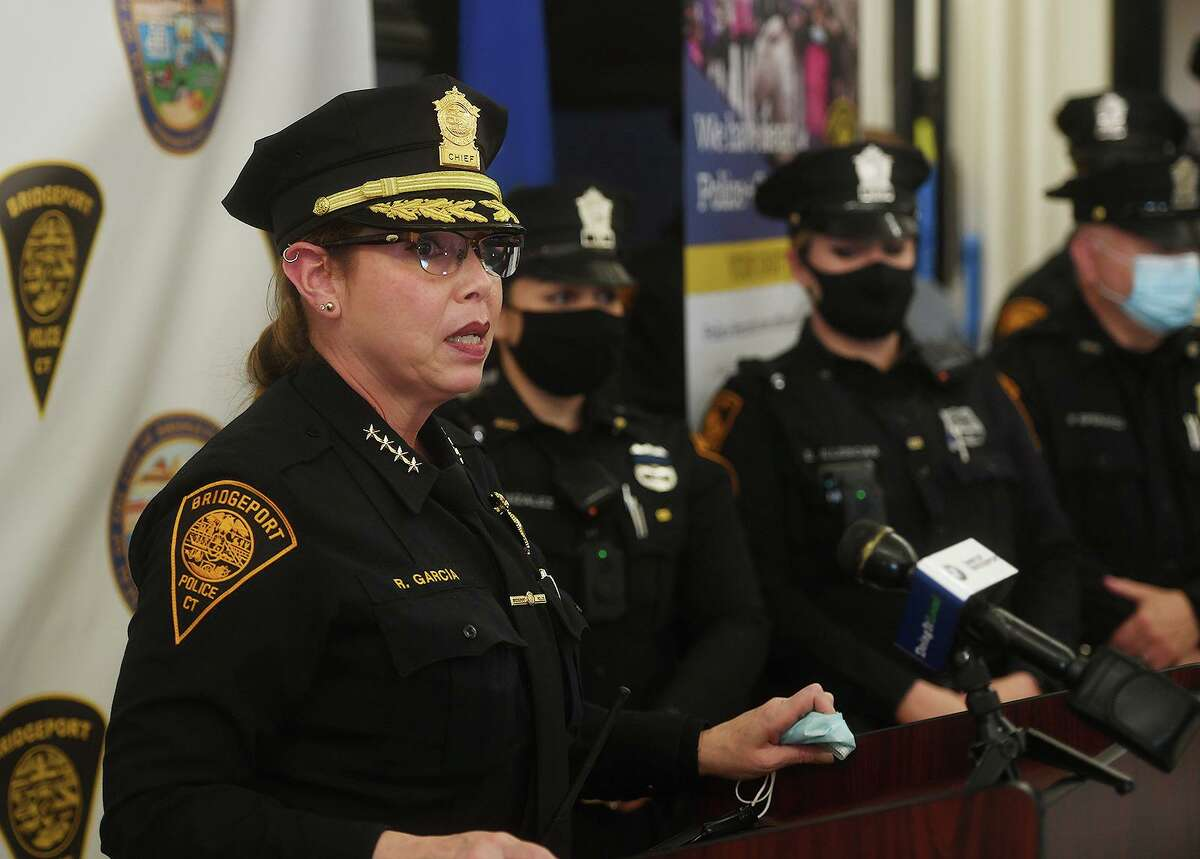 Bridgeport Acting Police Chief Rebeca Garcia launches the department's new locally focused recruitment for new police officers at the Bridgeport Police Academy in Bridgeport, Conn. on Tuesday, April 6, 2021.
