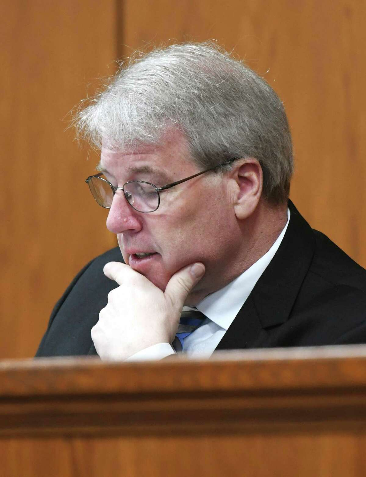 BET Chair Michael Mason listens during the Board of Estimate and Taxation Budget Committee Meeting on Feb. 4, 2020.