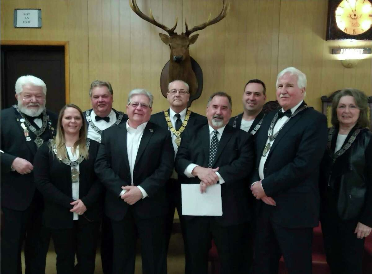 Pictured from left to right is Esquire Jim Lindsey, 3rd Vice President Katrina Peterson, Chaplin Phil Currie, Trustee Keith Kenney, President Tom Stellard, Trustee Eric Wolfe, 2nd Vice President Jason Rehkopf, 1st Vice President Dave Hosking, Secretary Susan Johnson, not pictured Trustee Gary Cox, Treasurer Josh Eling, and Inner Guard Bruce Parker. (Courtesy photo)