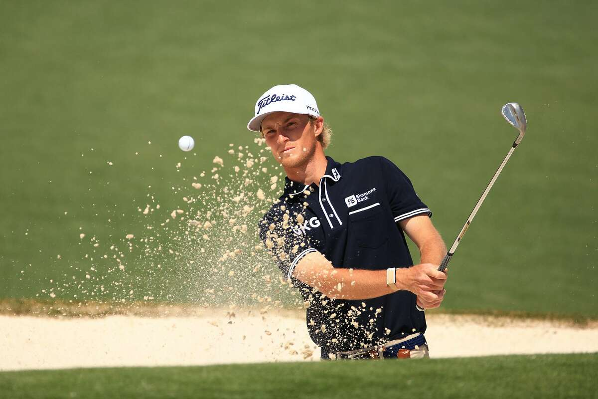 AUGUSTA, GEORGIA - APRIL 06: Will Zalatoris of the United States plays a shot from a bunker on the second hole during a practice round prior to the Masters at Augusta National Golf Club on April 06, 2021 in Augusta, Georgia. (Photo by Mike Ehrmann/Getty Images)