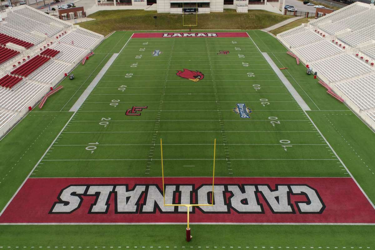 A drone image captures the current turf surface at Lamar University's Provost Umphrey Stadium. Lamar plans to install a new surface soon.