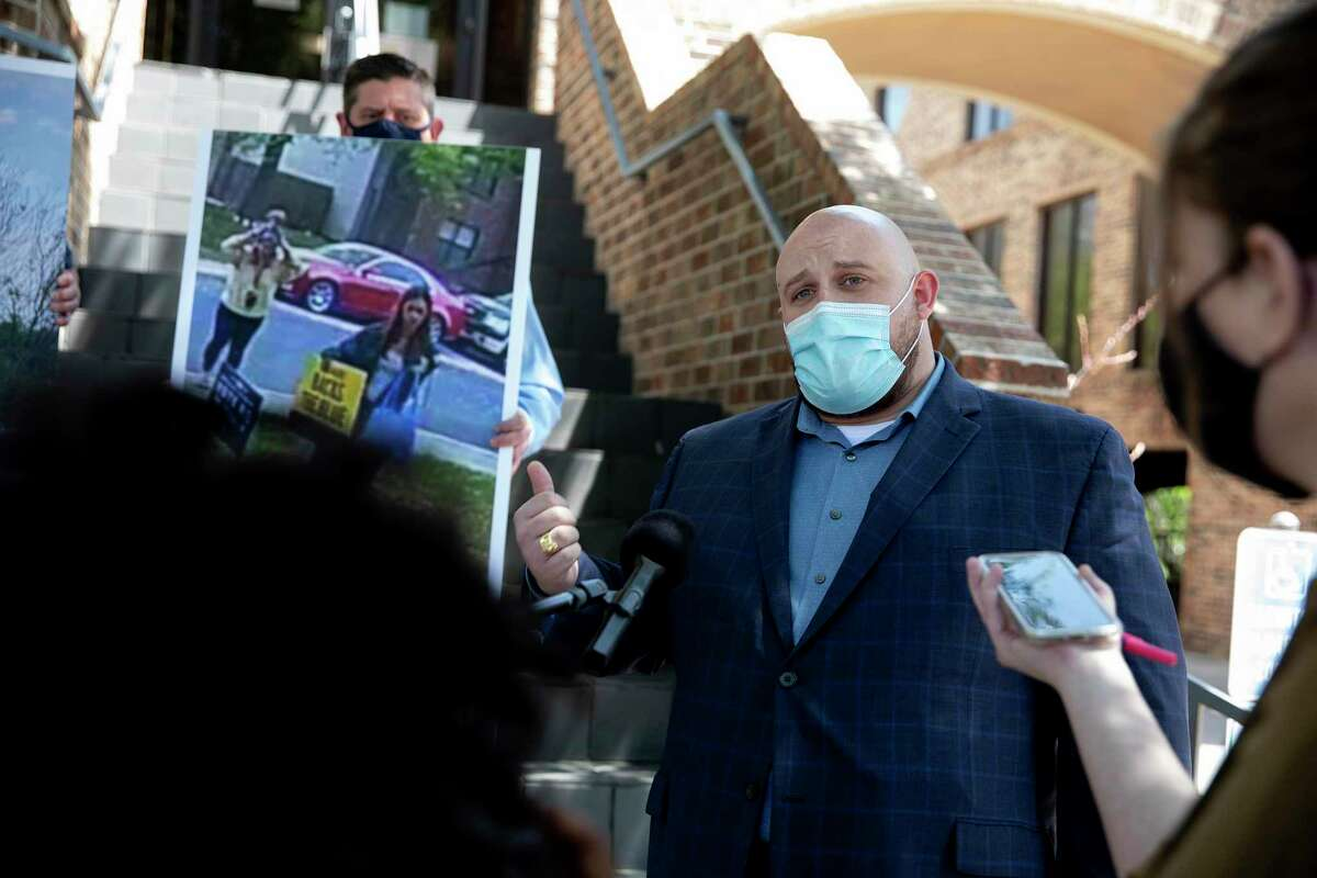 Rory McShane a consultant for the San Antonio police union, answers questions from the media on Tuesday, April 6, 2021.