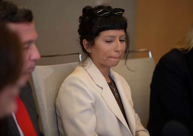 Ashley Solis, the first accusor of the sexual assault allegations against Houston Texans quarterback Desaun Watson, is overcoming with emotions while giving her statement during a news conference Tuesday, April 6, 2021, in Houston. Photo: Yi-Chin Lee, Houston Chronicle / Staff Photographer / © 2021 Houston Chronicle