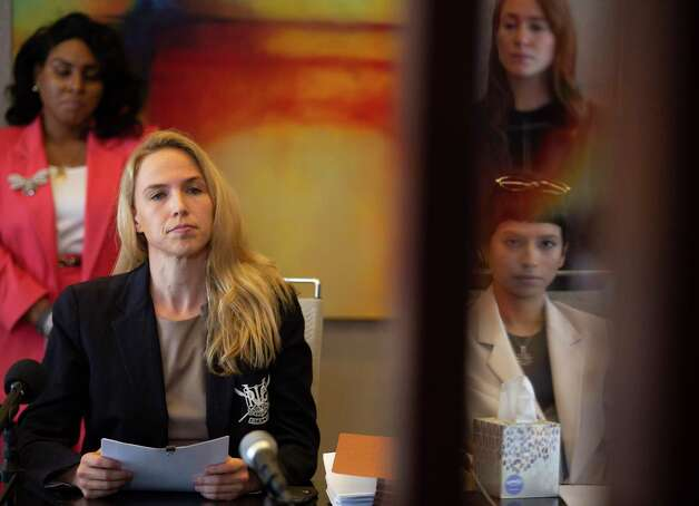 Attorney Cornelia Brandfield-Harvey, left, reads a statement by another accusor of the sexual assault allegations against Houston Texans quarterback Desaun Watson during a news conference Tuesday, April 6, 2021, in Houston. Photo: Yi-Chin Lee, Houston Chronicle / Staff Photographer / © 2021 Houston Chronicle