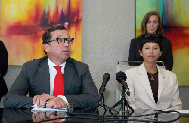 Attorney Tony Buzbee gives updates regarding to sexual assault allegations against Houston Texans quarterback Desaun Watson during a news conference Tuesday, April 6, 2021, in Houston. Ashley Solis, right, was the first accusor of more than 20 allegations to come forward. Photo: Yi-Chin Lee, Houston Chronicle / Staff Photographer / © 2021 Houston Chronicle