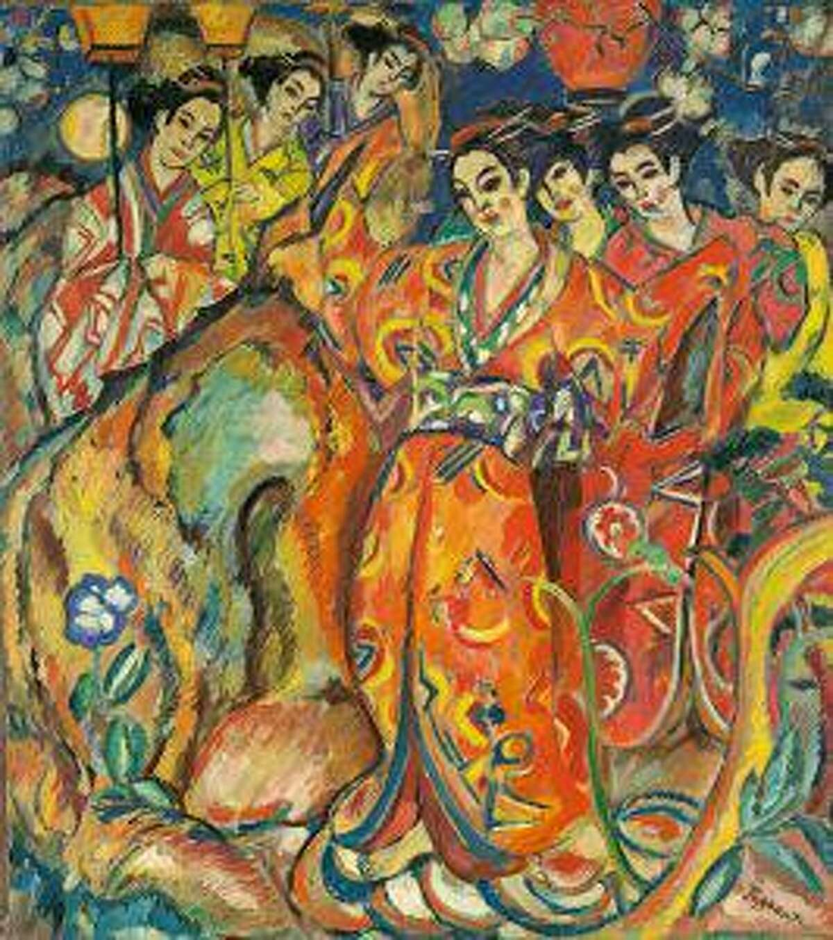Georg Tappert, Geisha-Revue, 1911/13, Oil on canvas. The Ella Gallup Sumner and Mary Catlin Sumner Collection Fund. © 2021 Artists Rights Society (ARS), New York / VG Bild- Kunst, Bonn