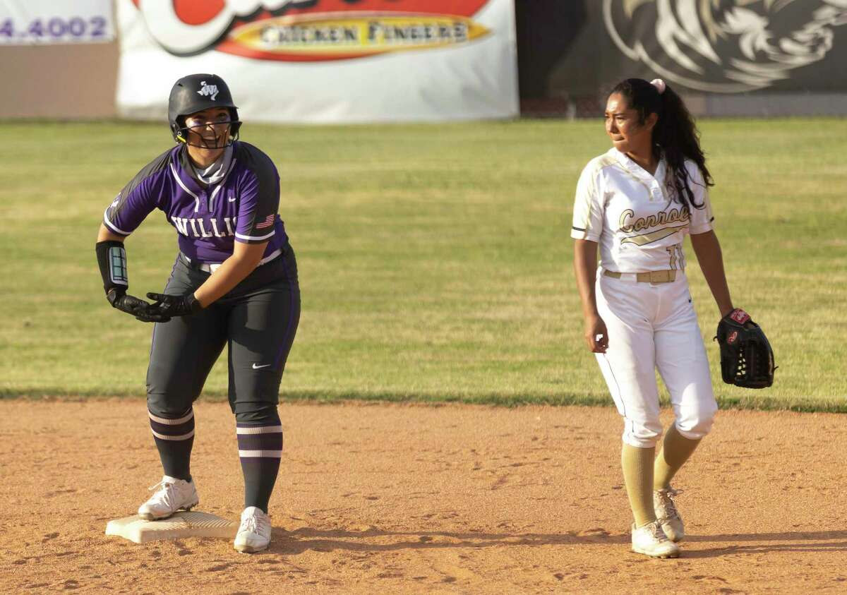 Marissa Fletcher #14 of Willis reacts after making it to second base during the second inning of a District 13-6A softball game at Conroe High School on Tuesday, April 6, 2021, in Conroe.