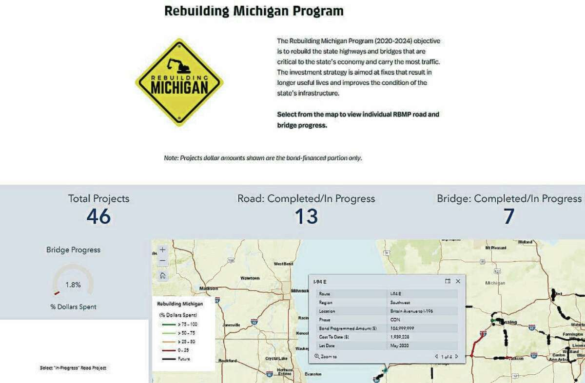 Thisscreen capture from the new Michigan Department of Transportation online dashboard shows the information available about ongoing and future Rebuilding Michigan road and bridge projects around the state. (MDOT image)