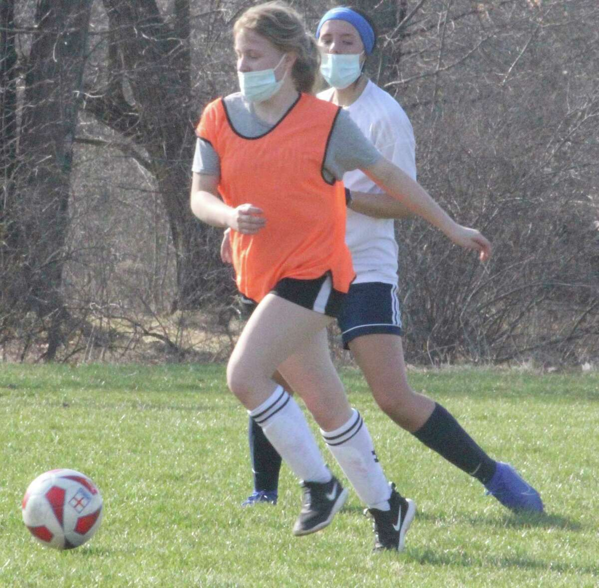 Big Rapids girls soccer players worked on their skills during a Tuesday practice. (Pioneer photo/John Raffel)