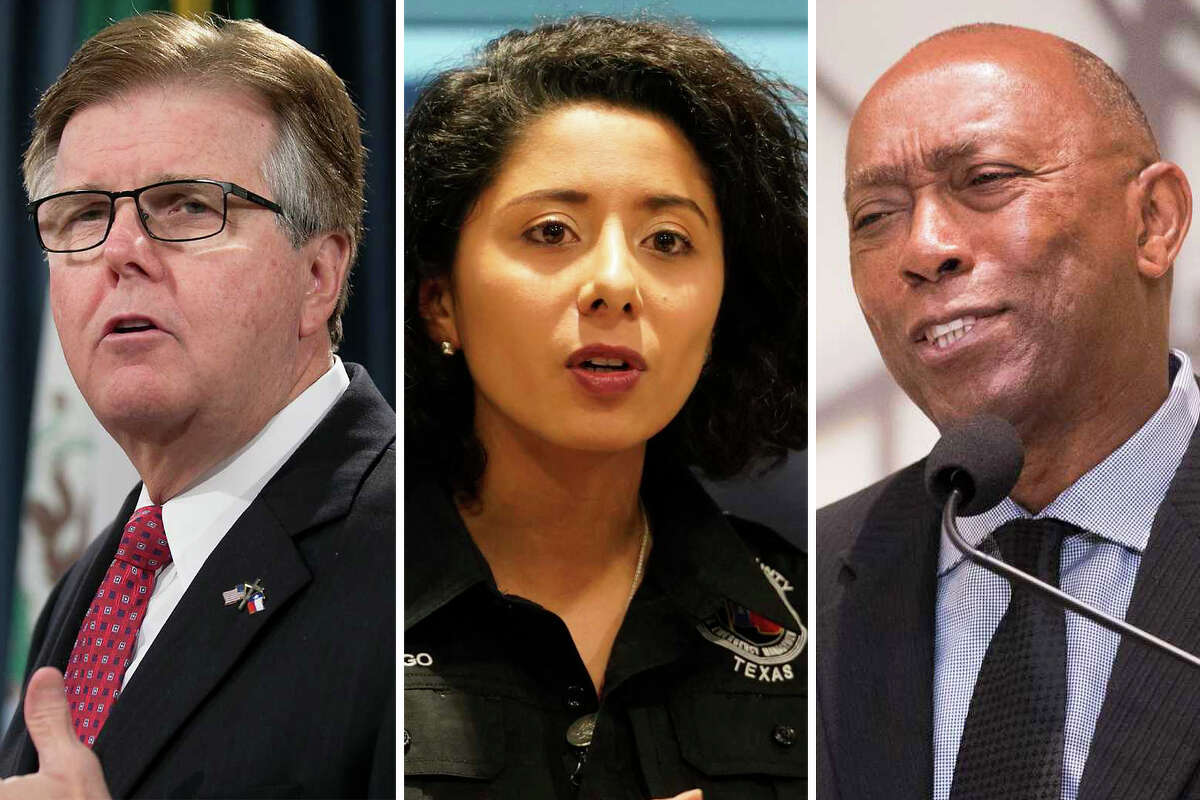 Lt. Gov. Dan Patrick, Harris County Judge Lina Hidalgo and Mayor Sylvester Turner are pictured together in this composite photo.