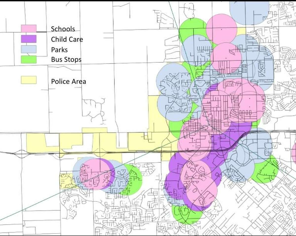 This map shows the areas of Katy that will be off-limits to sex offenders under a new proposed ordinance that will be up for vote on April 12, 2021.
