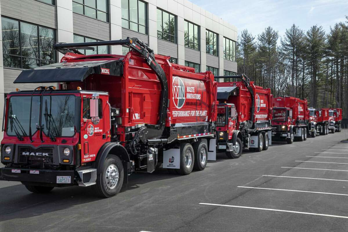 WIN Waste Innovation trucks in Portsmouth, N.H. (Photo via PRNewswire)