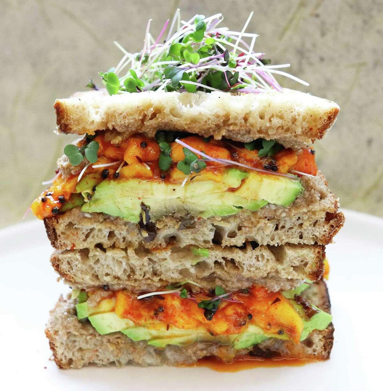 Mango chutney dresses up an avocado sandwich.