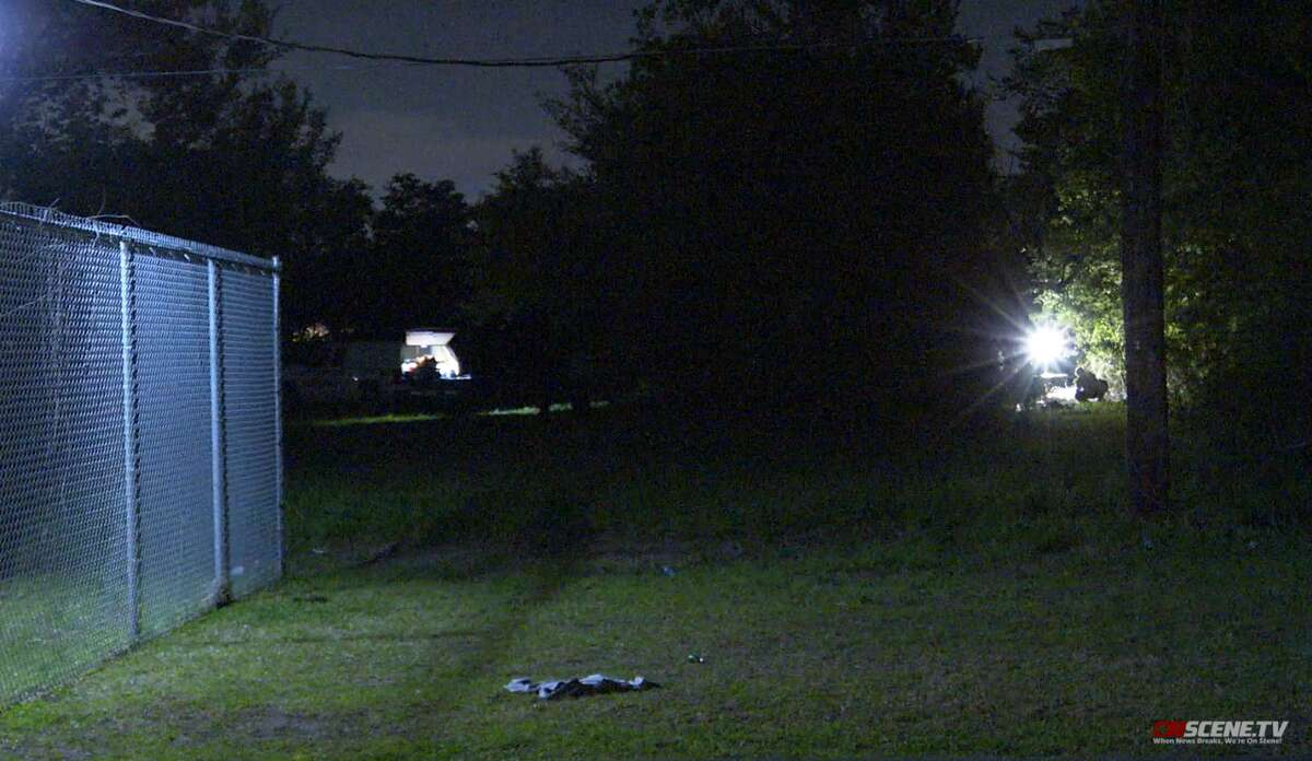 Harris County Sheriff's Office investigates a scene behind the Highlands Second Baptist Church, where the body of Abraham Mata was found Monday, April 5.