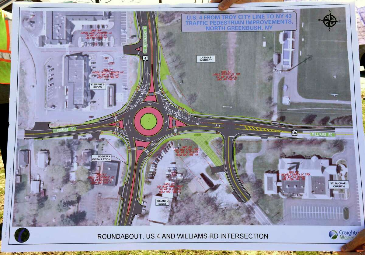 A rendering is seen with a new roundabout during a groundbreaking ceremony on the corner of Rt. 4 and Williams Rd. on Wednesday, April 7, 2021 in North Greenbush, N.Y. Officials announced the $9.6 million dollar project to reconstruct 3 intersections and new sidewalks are not along the Route 4 Corridor at Bloomingrove Drive, Winter Street Extension and Williams Road. The intersection at Rt. 4, Glenmore Rd. and Williams Rd. Will be the only intersection with a roundabout. (Lori Van Buren/Times Union)