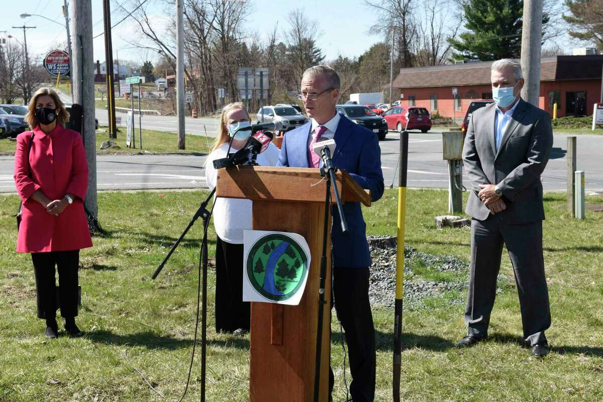 North Greenbush Supervisor Joseph Bott speaks during a groundbreaking ceremony on the corner of Rt. 4 and Williams Rd. on Wednesday, April 7, 2021 in North Greenbush, N.Y. Officials announced the $9.6 million dollar project to reconstruct 3 intersections and new sidewalks along the Route 4 Corridor at Bloomingrove Drive, Winter Street Extension and Williams Road. (Lori Van Buren/Times Union
