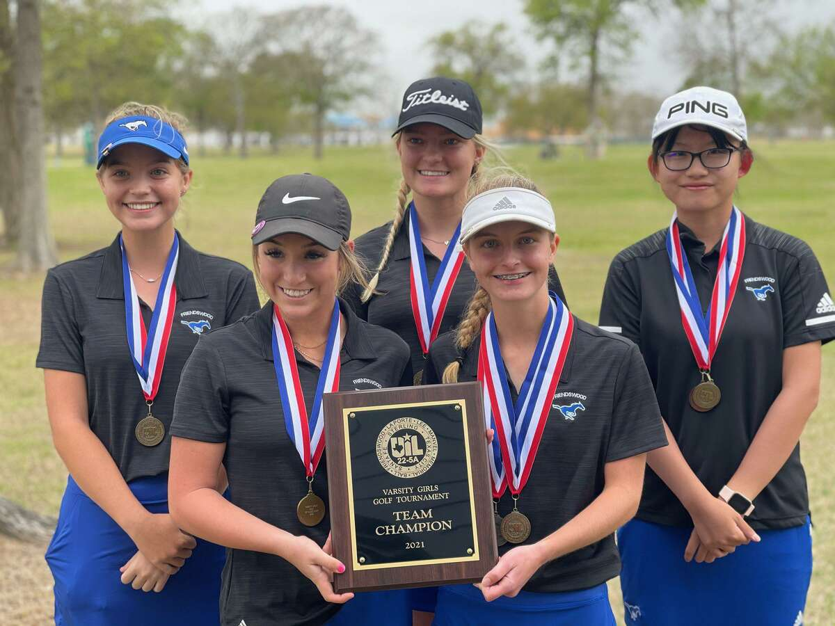 Friendswood girls golf team members (front row, left to right) Hannah Johnston, Mary Kerr (back row) Abby Permenter, Genna Dancey and Joy Li will try to earn a state berth Tuesday in the final round of the Region III-5A tournament at The Golf Club at Texas A&M.