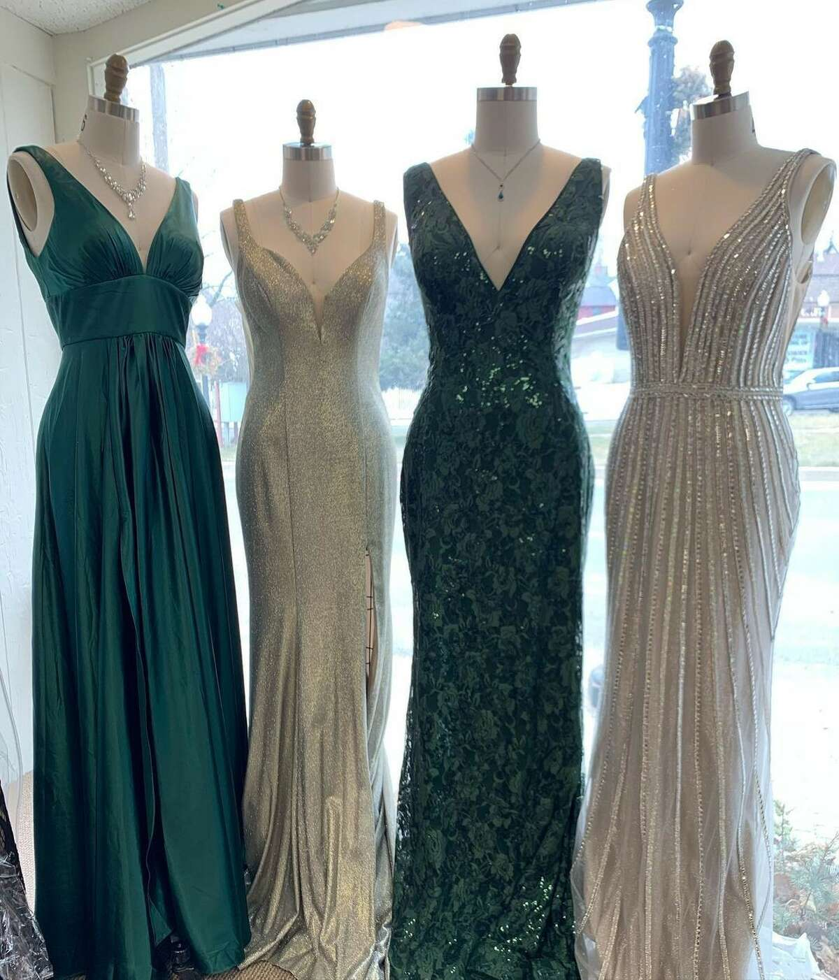 Beaded prom gowns available at Occasions Bridal in Bethel, Conn., located on 6 PT Barnum Square. Store owner Gail Furniss said her prom shoppers are selecting styles that range from tulle ballgowns to sequined, form-fitting styles for 2021.