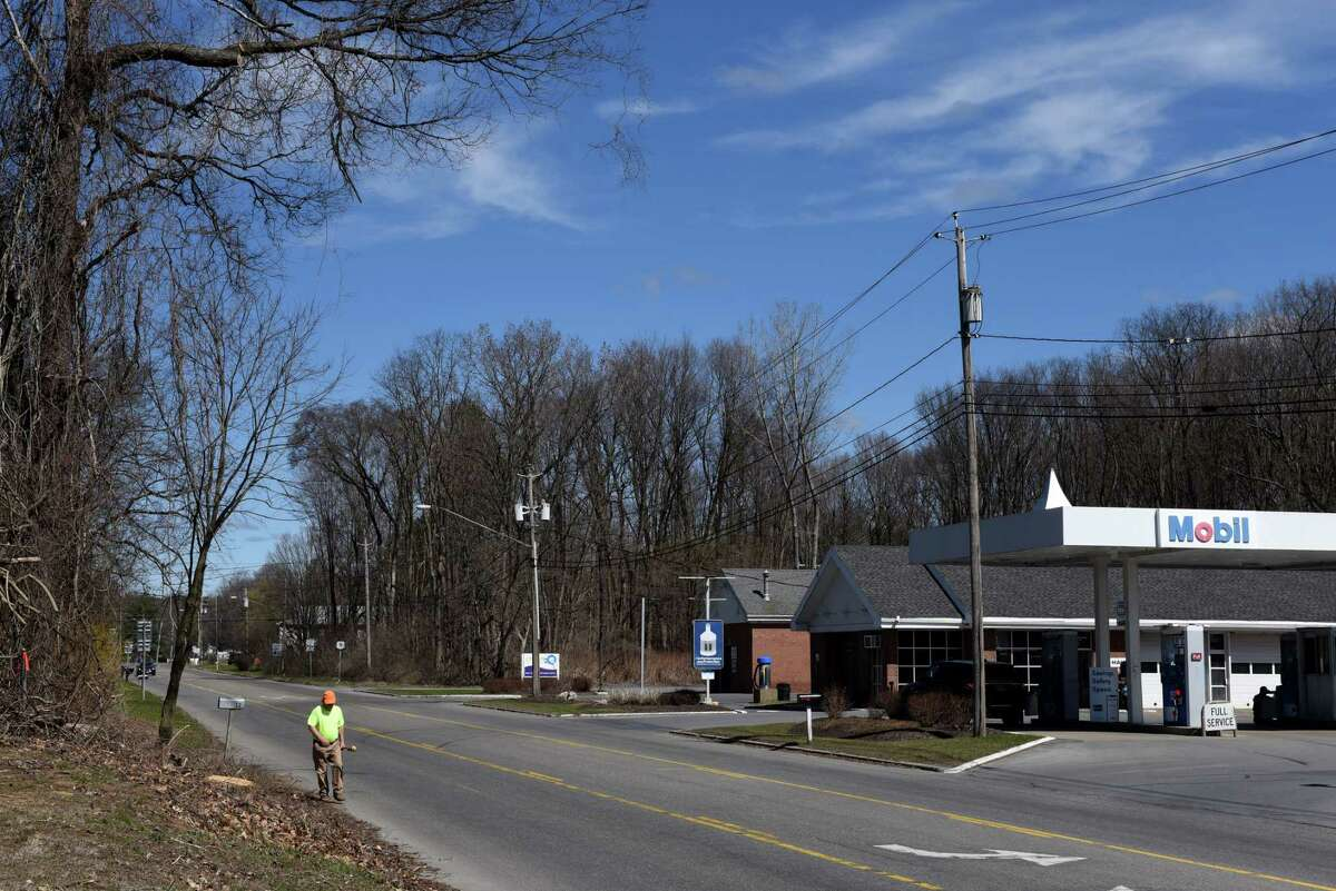 View of wooded land off Marion Avenue just north of a Mobil gas station where Stewart's Shops is looking to develop on Wednesday, April 7, 2021, in Saratoga Springs, N.Y. (Will Waldron/Times Union)