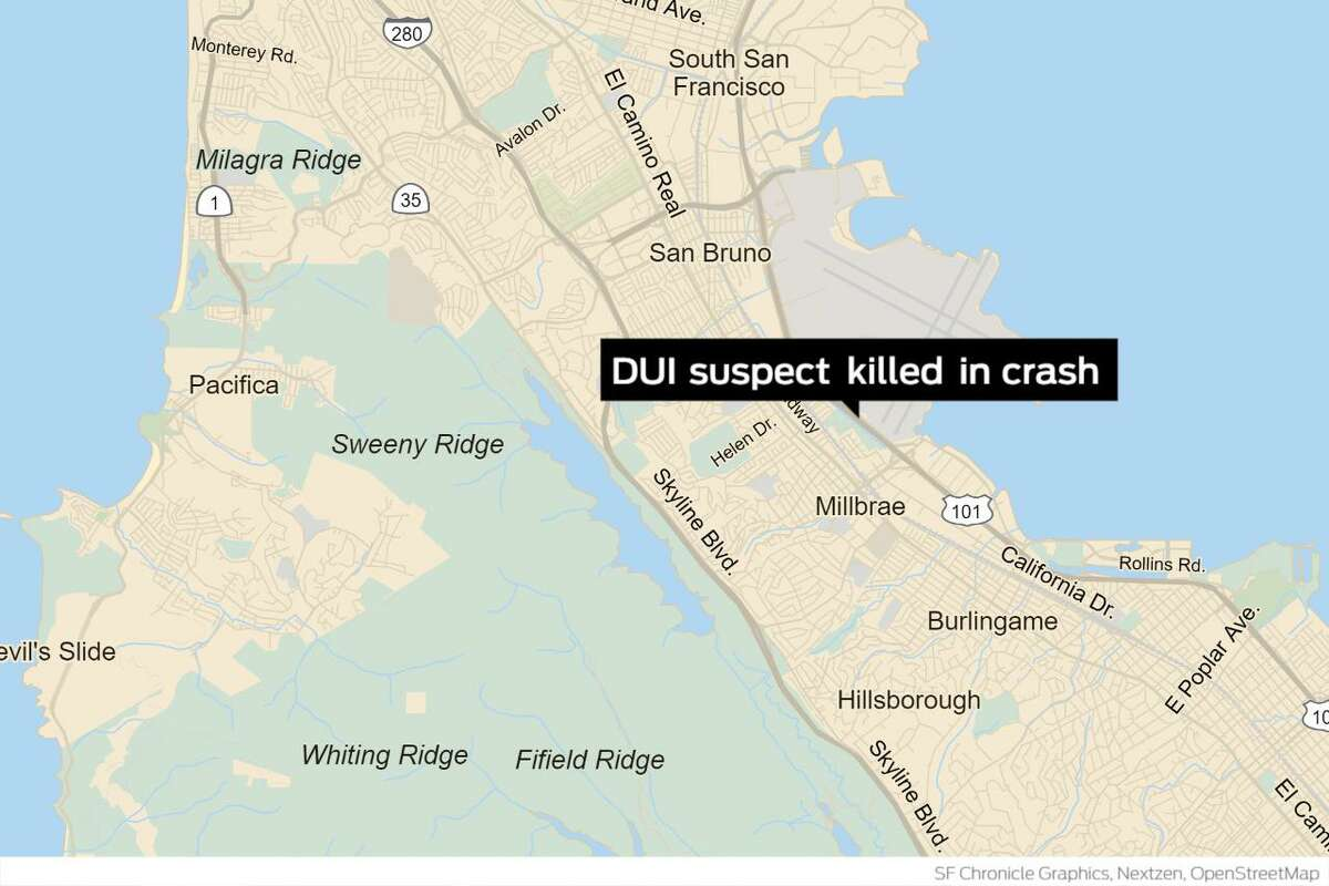 A man suspected of driving under the influence was killed Tuesday night after he struck a vehicle driven by a San Mateo sheriff's deputy while fleeing authorities.