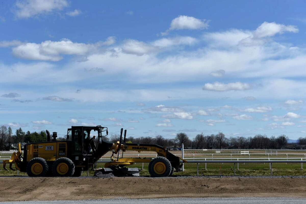 A new limestone base layer at Oklahoma Training Track is grated ahead of the training season on Wednesday, April 7, 2021, in Saratoga Springs, N.Y. The facility across from Saratoga Race Course underwent extensive renovations that included a new safety rail. (Will Waldron/Times Union)
