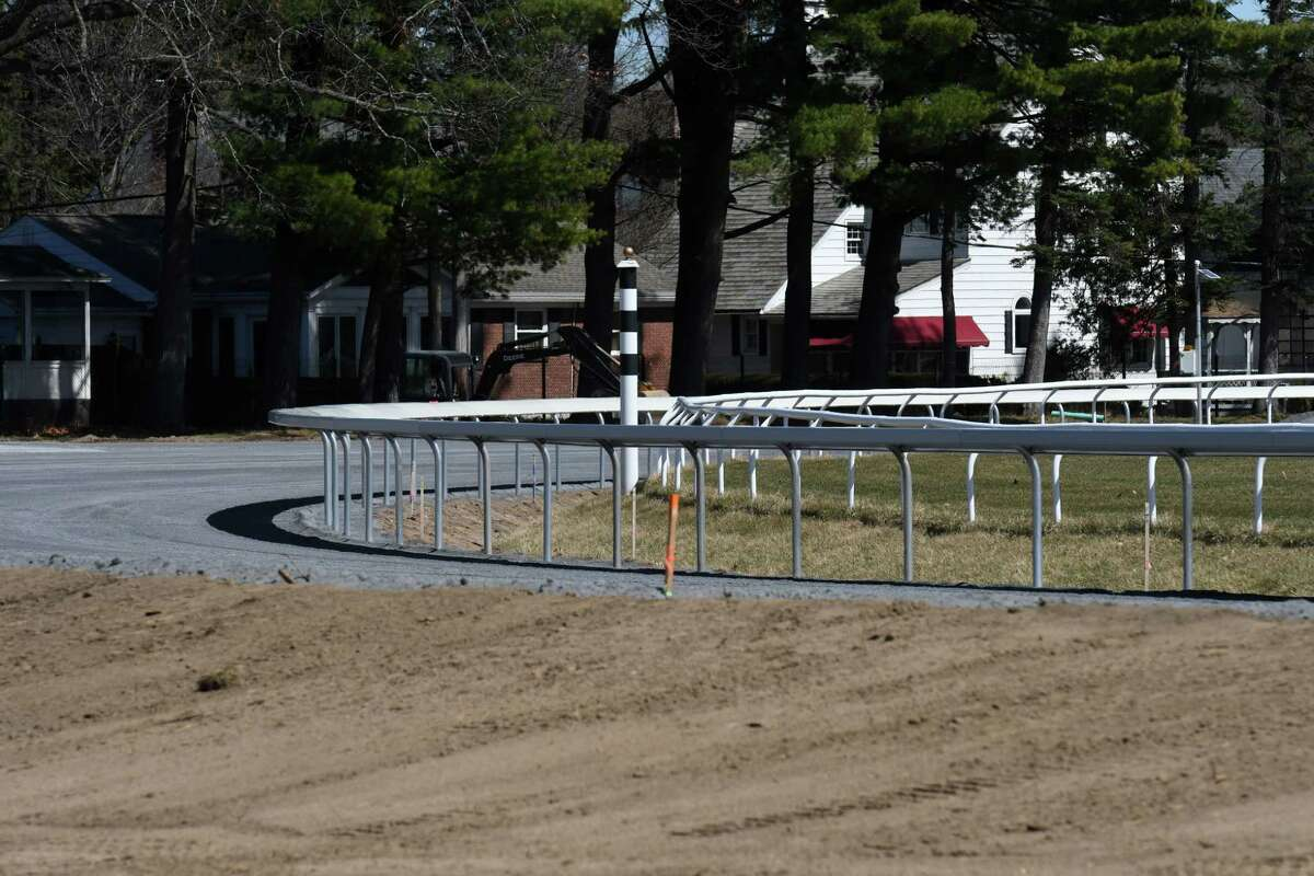 A new safety rail at Oklahoma Training Track was installed ahead of the training season on Wednesday, April 7, 2021, in Saratoga Springs, N.Y. The facility across from Saratoga Race Course underwent extensive renovations that included a new limestone base layer. (Will Waldron/Times Union)