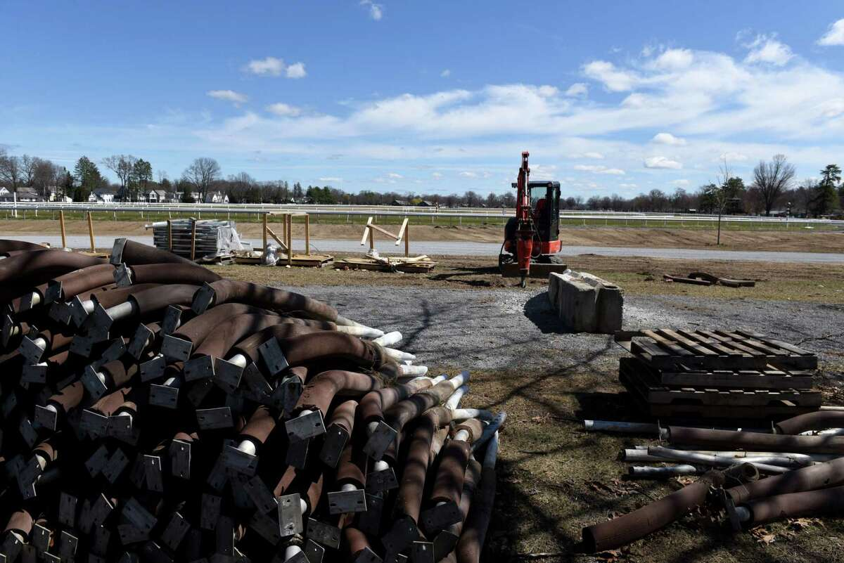 The old safety rail at Oklahoma Training Track sits along the East Avenue end on Wednesday, April 7, 2021, in Saratoga Springs, N.Y. The facility across from Saratoga Race Course underwent extensive renovations that included a new safety rail and limestone base layer. (Will Waldron/Times Union)