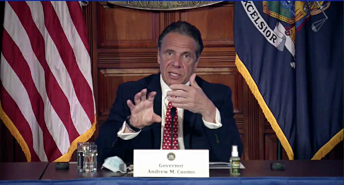 New York Gov. Andrew Cuomo speaks during a news conference about the state budget on Wednesday.
