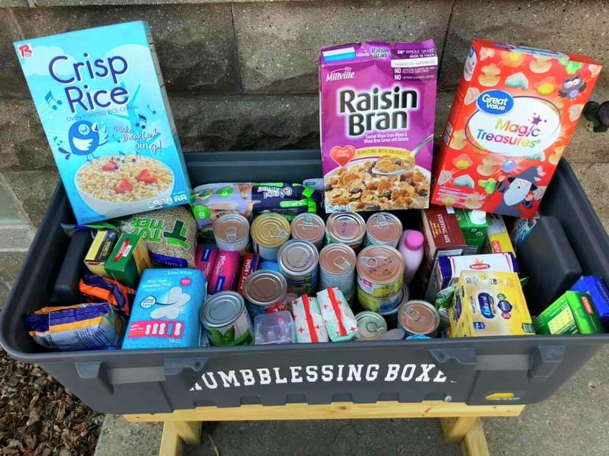 Blessing Boxes can contain a number of items like this box. Items vary from box to box. They contain non-perishable food items, and more. (Courtesy Photo)