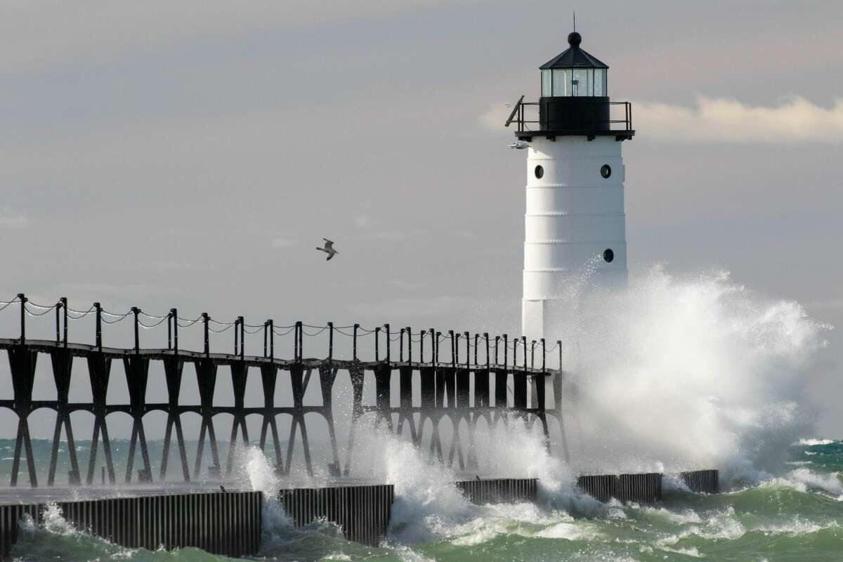 The Manistee North Pierhead Lighthouse is pictured on a windy day on March 14, 2021.