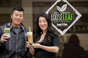 William Bok and Lisa Satavu, the co-owners of Loose Leaf Boba Company in New Haven.
