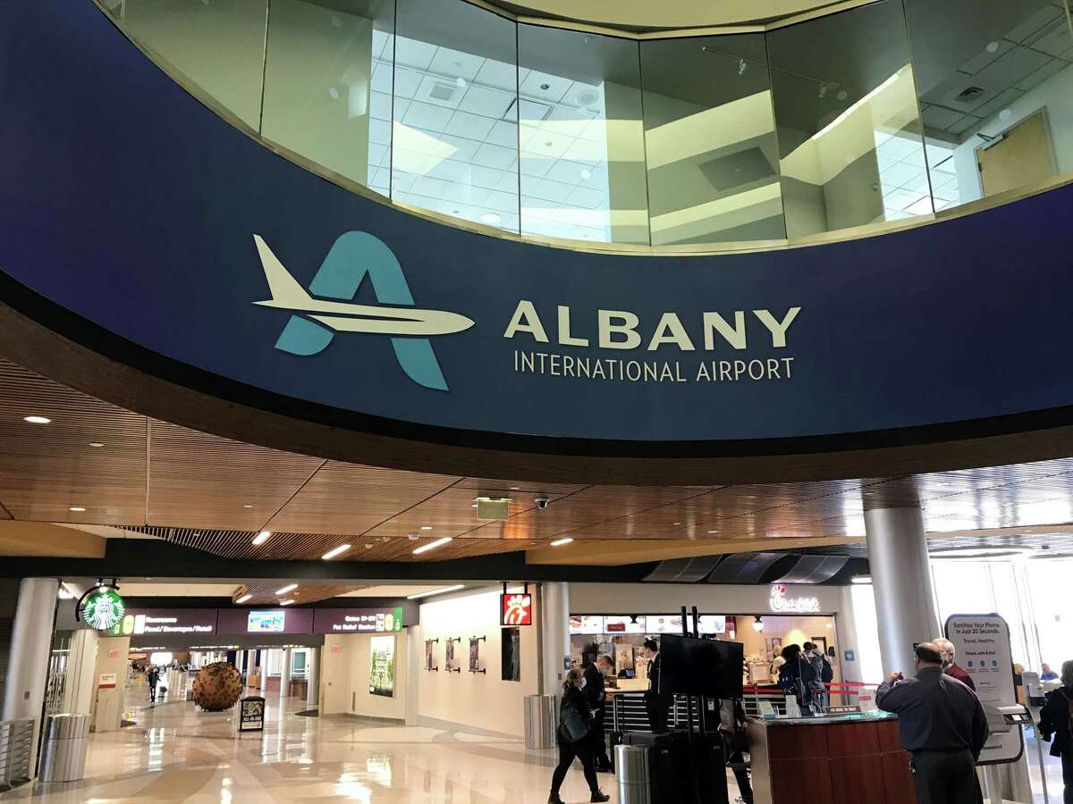 The new logo is on display at Albany International Airport's main terminal Wednesday, April 7,2021. (Albany County Airport Authority)