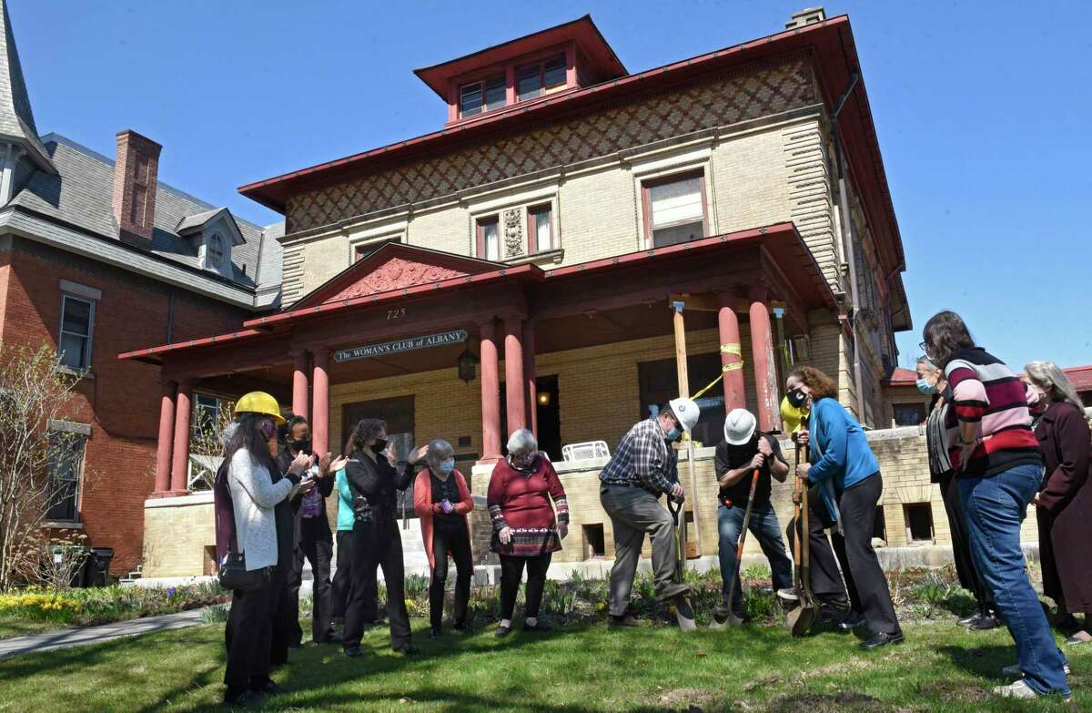 Groundbreaking ceremony for the reconstruction of the front porch including a ramp at the historic The Woman's Club of Albany on Wednesday, April 7, 2021 in Albany, N.Y. (Lori Van Buren/Times Union)