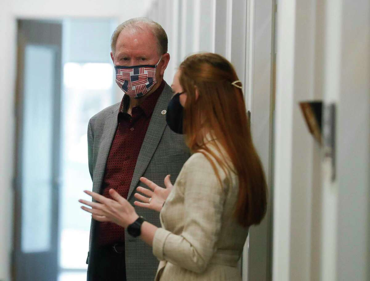 Former Conroe Mayor Tommy Metcalf listens to Admissions Counselor Rebecca Mills during a tour of Sam Houston State University's College Of Osteopathic Medicine, Tuesday, April 6, 2021, in Conroe. The university's newest college opened its 107,000 square-foot facility on 7.3 acres just near Creighton Road and I-45 in 2020.