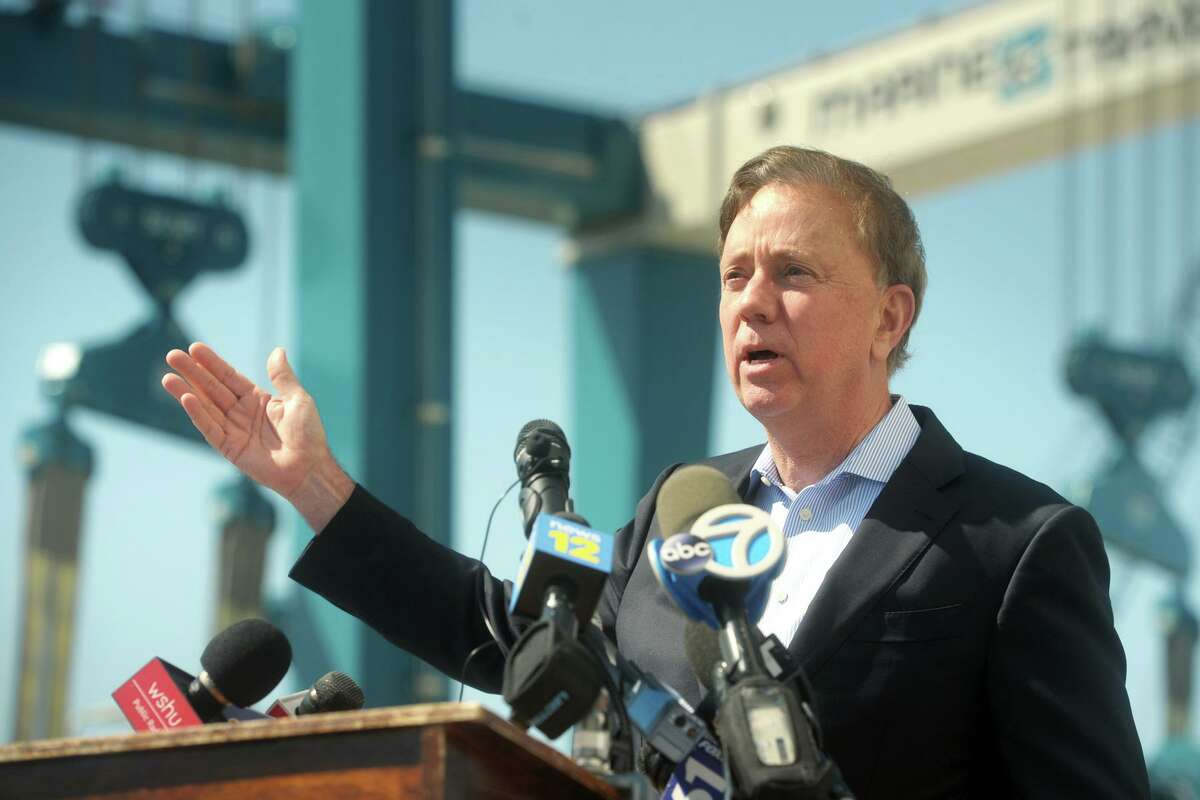 Gov. Ned Lamont speaks at a news conference in Bridgeport Monday.