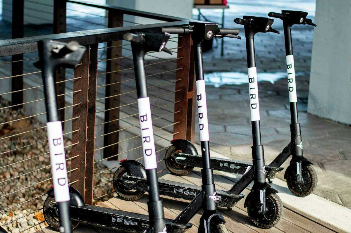 Pictured are five Bird electric scooters. This week, Big Rapids city commissioners gave the Bird the OK to bring its electronic scooters to the city. (Andrew Mullin/amullin@hearstnp.com)