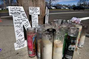 A memorial remains at the corner of Auburn Street and Legion Avenue in New Haven on April 7, 2021 where Dwaneia Turner was killed in a shooting on March16.