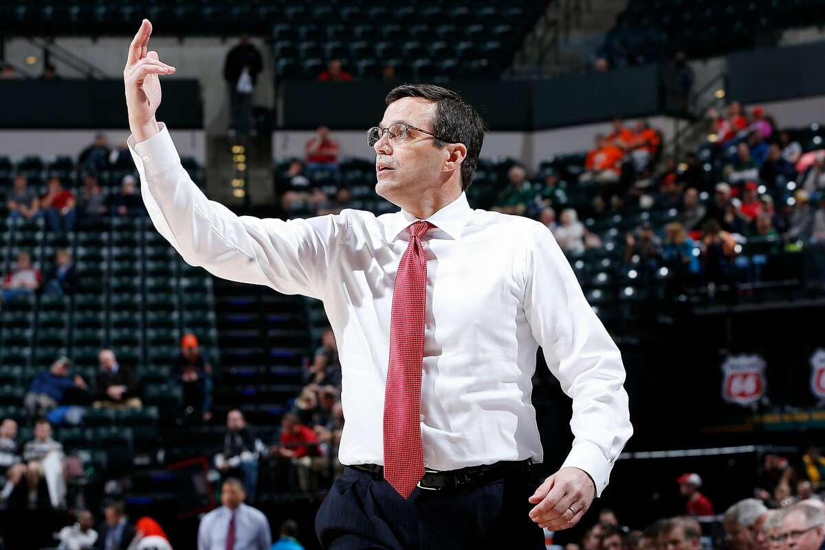 INDIANAPOLIS, IN - MARCH 9: Head coach Tim Miles of the Nebraska Cornhuskers reacts against the Rutgers Scarlet Knights during the first round of the Big Ten Basketball Tournament at Bankers Life Fieldhouse on March 9, 2016 in Indianapolis, Indiana. Nebraska defeated Rutgers 89-72. (Photo by Joe Robbins/Getty Images)