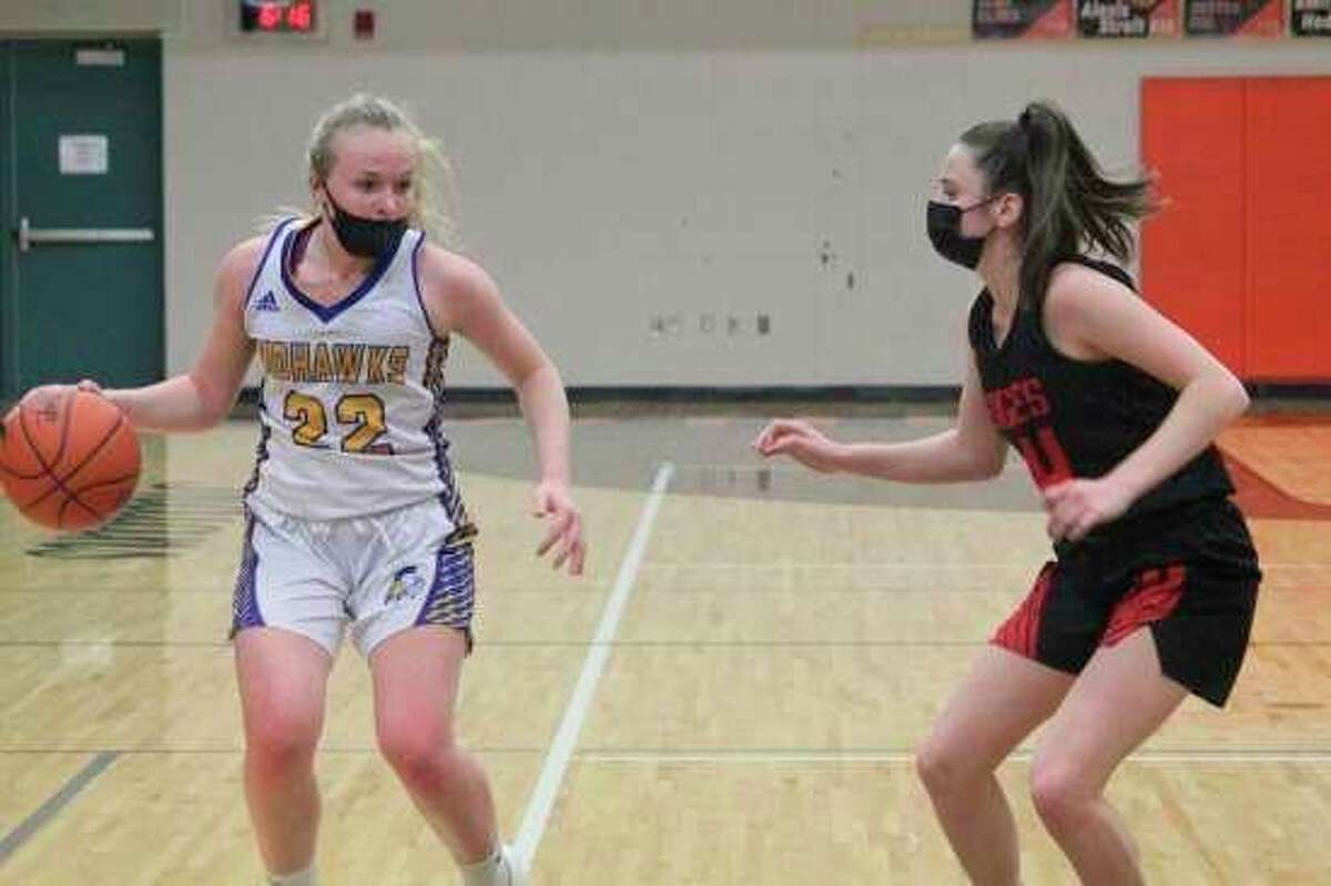Morley Stanwood junior Madison Garbow possesses the ball during a game against Kent City earlier this season. (Pioneer file photo)