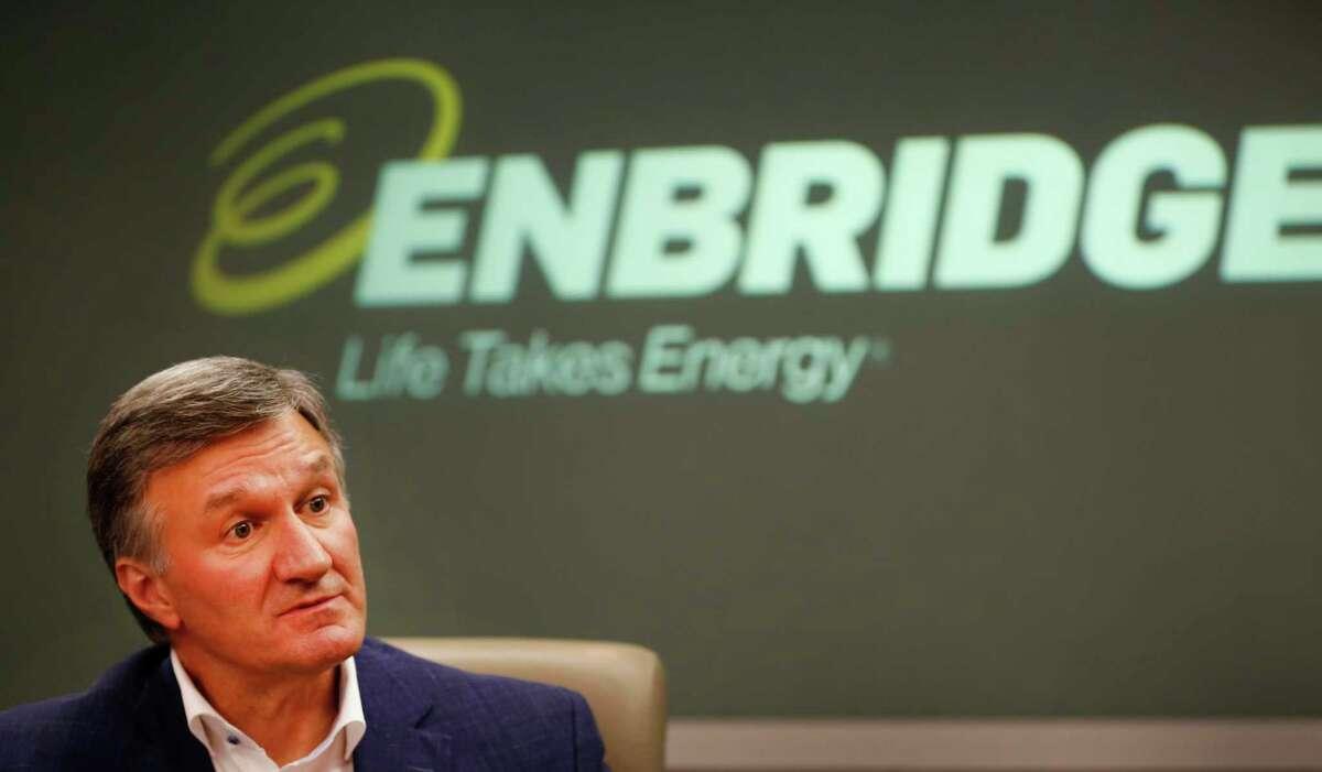 Enbridge CEO Al Monaco is interviewed Tuesday, Oct. 8, 2019, in Houston.