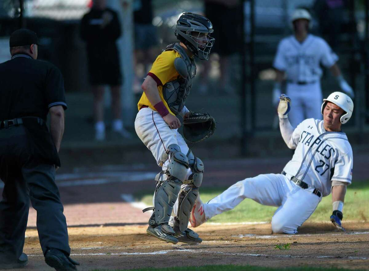 Staples defeated St. Joseph 4-2 in a FCIAC semifinal game in 2019 at Cubeta Stadium in Stamford.